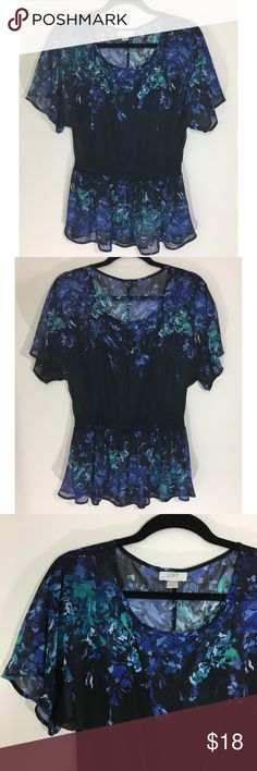Ann Taylor LOFT Floral Sheer Top Size Small Size Small  100% polyester Very pretty and feminine Excellent condition LOFT Tops