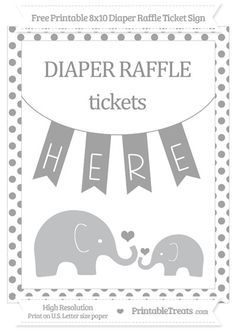 Free Pastel Grey Dotted  Elephant 8x10 Diaper Raffle Ticket Sign
