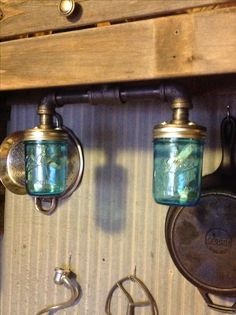 Our take on the industrial rustic mason jar lights.