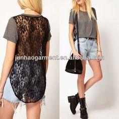 blusa larga atras - Buscar con Google Blouse Models, Lace Back, Blouse Styles, New Model, Shirt Dress, T Shirt, Blouses For Women, Google, Dresses