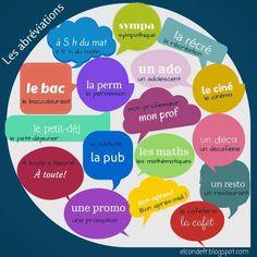 """""""Via Francés a tope #Facebook  Les Abréviations #French #langchat #frimm #fle #mfltwitterati #edchatie"""""""