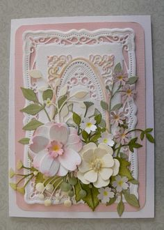 Spellbinders Radiant Rectangles, Cheery Lynn BAF 3, Memory Box, Lavish Branch, Chloe, Flutter Vine & Punched flowers.