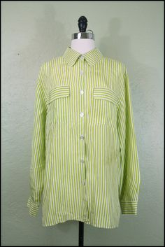 Vintage '90s Menswear Silk Blouse// Striped Silk by StoriesForBoys, $18.00  #VintageClothing #Shirt #Vintage #Clothing #Womens #Silk #Blouse #Shirt #Top #Longsleeve #Lime #Green #verticalstripe #Striped #Large #90s #grunge #minimalist #minimalism #1990s #forsale #etsy #wanelo #pinterest #storiesforboys