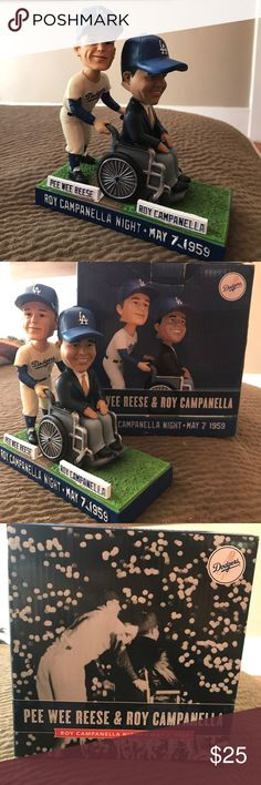 LA Dodgers Bobblehead Pee Wee Reese Roy Campanella Great gift for any Dodger fan!! Super collectible!  2014 Pee Wee Reese & Roy Campanella Bobble Head w/Box. This Dodger Stadium promotional item commemorates Roy Campanella Night on May 7, 1959, an exhibition game between the Los Angeles Dodgers and New York Yankees that was staged to help defer the medical expenses of the paralyzed catcher. Item is from the 2014 season, and comes with plastic packaging inserts and box. (Box has some wear.)…