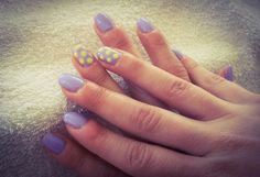 nails, lilac, yellow, spots