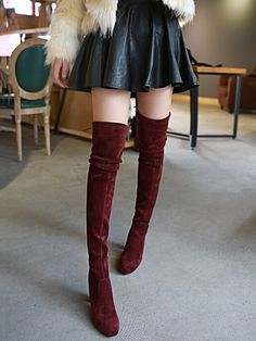 suede wine red over the knee boots