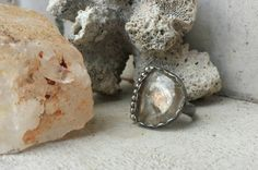 Golden rutilated quartz statement ring by CultivatedDreams on Etsy