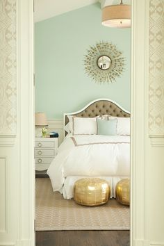 Mint Green Wall Bedroom Interior Design