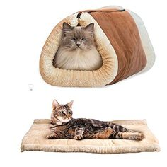 OWIKAR 2 in 1 Tube Cat Mat and Bed Small Pet Bed Tunnel Fleece Indoor Cushion Mat Cotton Pad For Dog Puppy Kitten Kennel Crate Cage Shack House With Sound Paper Cat Favorites Brown -- Learn more by visiting the image link.