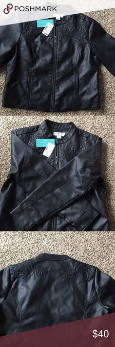 Christopher and banks leather black jacket Never worn. Perfect condition. Christopher & Banks Jackets & Coats