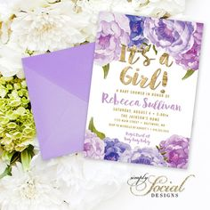 Floral Baby Shower Invitation - Floral Lilac Purple Faux Gold Foil Boho Flowers Watercolor Botanical It's a Girl Printable Party Invite