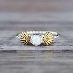 Mermaid Sea Shells and Opal Ring