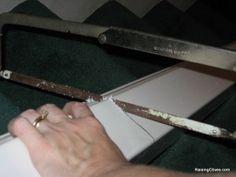 cut rain gutter shelves tutorial