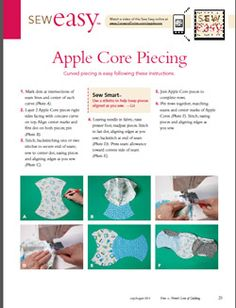 Apple Core Quilt Piecing-video and concise instruction sheet to print out.