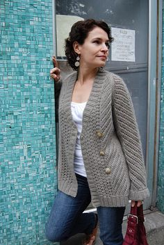 darmowe wzory - kardigan na drutach
