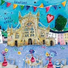 Bunting and Bath Abbey Art Greeting Card By Susie Grindey | Whistlefish Galleries