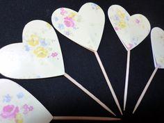 Dekoration - Muffin / Cupcake Stecker Herz Deko 5 Stück - ein Designerstück von kreativesherzerl bei DaWanda