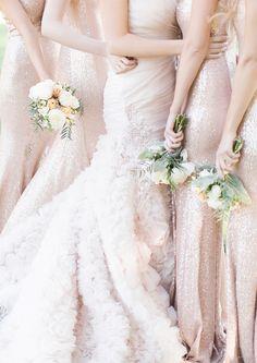 Glamorous Bridesmaids Idea Sequined floor length bridesmaid dresses. #wedinspire
