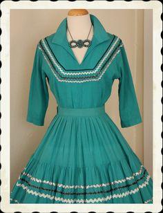 1950's Rich Turquoise Cotton Voile 2 Piece Patio Dress - via Etsy.