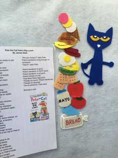 Pete the Cat: Petes Big Lunch. Set includes Pete and all food items listed in the story. Children and toddlers will love retelling the story using these felt board pieces. This felt set is individually hand crafted from quality felt and embellished with fabric paint, Great for teachers, preschools, early childhood centres, family day care, playgroups and families. It is a beautiful story of how Pete shares lunch with others and how he makes yummy lunch!  The Set Includes: 1 Pete the cat 1…