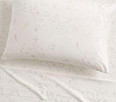 Monique Lhuillier Sateen Floral Bird Sheet Set