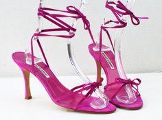 Manolo Blahnik Pink Suede Strappy Sandals US 10 IT 40 #ManoloBlahnik #Strappy #Formal