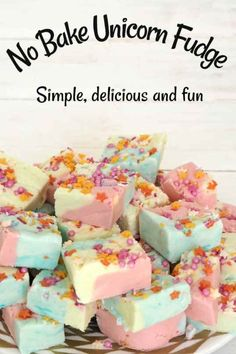 No Bake Unicorn Fudge. No Bake Unicorn Fudge - simple delicious and fun. A great easy recipe for cooking with kids! No Bake Unicorn Fudge is simple to make, delicious to eat and so much fun in every way. It's a great easy recipe for cooking with kids! Fudge Recipes, Candy Recipes, Baking Recipes For Kids, Simple Recipes For Kids, Easy Recipes For Desserts, Dinner Recipes, Kid Recipes, Dinner Ideas, Easy No Cook Recipe For Kids