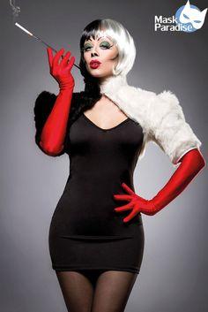 Cruel Lady Kostümset Black and White Evil Kostümset Damen kostüm Karneval