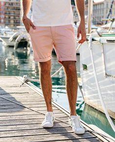 X-Future Men Straight Leg Solid Color Flat-Front Sport Elastic Waist Casual Dress Shorts Pants