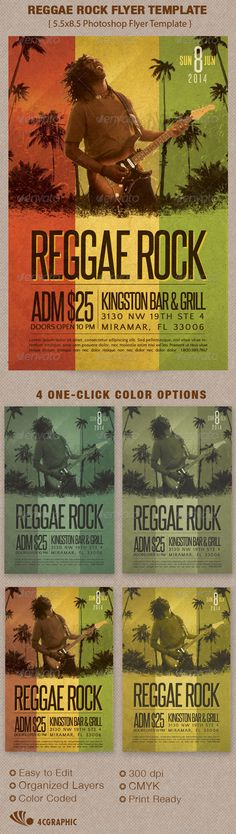 The Reggae Flyer Template is great for any Reggae or Indie theme event, Use it for Club, Parties or Concert Events. In this package you'll find 1 Photoshop file. 4 One-Click color options are included. All layers are arranged, color coded and simple to edit. Sold exclusively on graphicriver.net $6.00