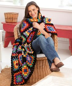 Traditional Granny Square Chic Throw: free pattern