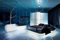 Comfy And Cool Bedroom Design In TRON Legacy Inspiration For Home Designing Futuristic Interiors home trends design photos, home design picture at Home Design and Home Interior Home Design, Home Interior Design, Interior Styling, Interior Ideas, Futuristic Bedroom, Futuristic Interior, Estilo High Tech, Estilo Interior, Spaceship Interior