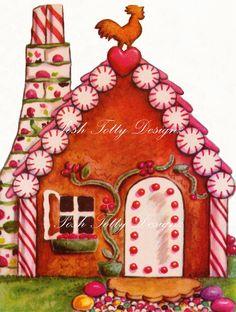 The Little Gingerbread House 1950s Vintage por poshtottydesignz, $1.00