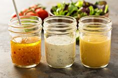 3 recipes for low-calorie salad dressings - Soßen - Salat Rezepte Low Calorie Salad, No Calorie Foods, Low Calorie Recipes, Vinaigrette Dressing, Salad Dressing Recipes, Salad Recipes, Ranch Dressing, Types Of Salad Dressing, Low Carb Dressing