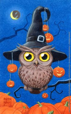 Rule An owl shall be drawn/painted/created every day. Rule The owl shall be made quickly and without planning beforehand. Rule Have fun with style, technique, concept and everything else. Halloween Canvas, Halloween Artwork, Halloween Owl, Halloween Painting, Halloween Pictures, Vintage Halloween, Halloween Crafts, Halloween Decorations, Samhain Halloween