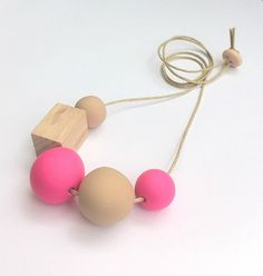 Handmade Clay and Timber Block Necklace Neon by OneWhiteSunday, $38.00