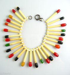Vintage 1930s 40s Martha Sleeper Bakelite Celluloid Matchsticks Bracelet | eBay
