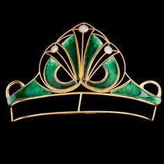 A green enamel Art Nouveau tiara. Gold. Original box.