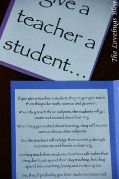 Give a teacher a student 2