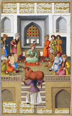 The servant girl Fitnah impresses Bahram Gur Painting by Muhammad Zaman dated Mazandaran, 1086 (1675/76). The servant girl Fitnah impresses Bahram Gur with her strength by carrying an ox on her shoulders