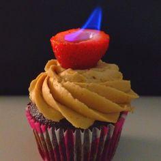 Amazing cupcake on fire!