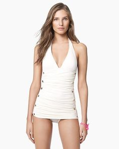 Juicy Couture white nautical-inspired one piece. Love, love, love.