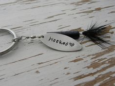 Hooked fishing lure key chain - hand stamped - fishing gift - keychain - hand stamped - rugged outdoors wedding - love heart - hook - fish