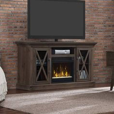 Product Image For ClassicFlame® Cottage Grove Electric Fireplace And TV  Stand In Spanish Grey 1 Out Of 5