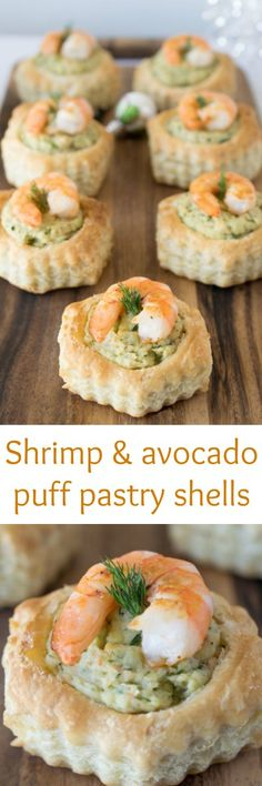 Shrimp & avocado puff pastry shells - Pre-made puff pastry shells filled with a shrimp and avocado mousse that is flavored with dill, chives and cilantro.