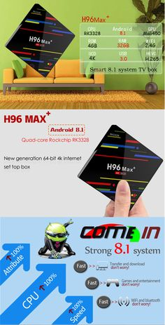 H96 Max Plus RK3328 4GB RAM 32GB ROM Android 8.1 USB3.0 TV Box Support HD Netflix 4K Youtube Youtube Home, Photography Camera, Card Reader, Electronic Cigarette, Quad, Netflix, Gadgets, Android