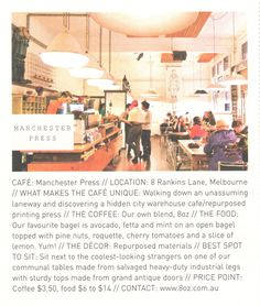 Manchester Press // In the lane ways of Melbourne there are so many cafes its hard to know where to pick for a quick brunch but this one comes highly recommended. Coffee, breakfast/brunch subs/sandwiches Press Cafe, Frankie Magazine, Loudoun County, Printing Press, Menu Restaurant, Manchester, Melbourne, Sandwiches, Brunch