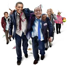 G7 summit by Derek Bacon, Nicolas Sarkozy, Barrack obama, silvio berlusconi, angela merkel,...