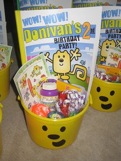 DIY wubbzy activity book/ favors bucket (idk about Wow Wow Wubsy, but I want to maybe try other themes/characters)