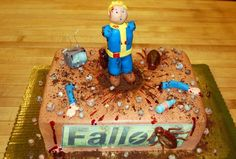 Post with 27 votes and 3474 views. It's my cakeday but my brain is preoccupied with Fallout. Cake Icing, Cupcake Cakes, Cupcakes, 4th Birthday Cakes, Sons Birthday, Birthday Ideas, Scary Cakes, Video Game Cakes, Sculpted Cakes